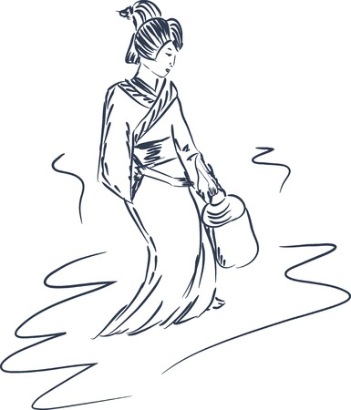 sketch illustration of a japanese geisha walking with a basket Vector