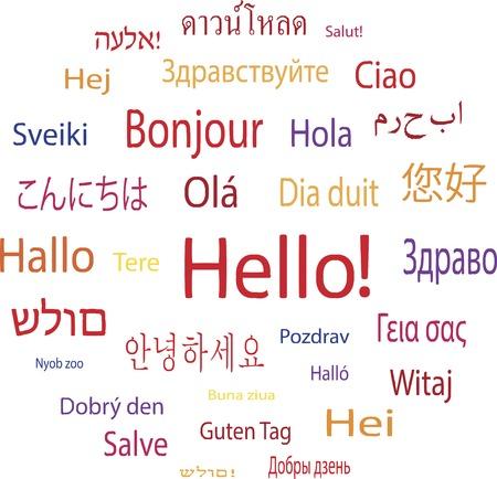 Hola palabra en las lenguas de la ilustración vectorial mundo Foto de archivo - 27073016