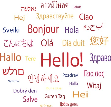 languages: Hola palabra en las lenguas de la ilustración vectorial mundo Vectores