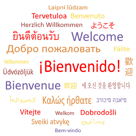Tag cloud: Welcome in different languages. Banco de Imagens