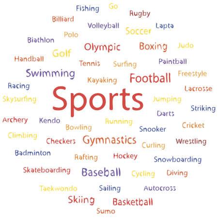 Tag cloud, speech banner of sport types. Vector illustration. Illustration