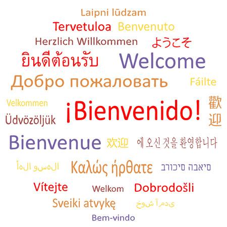 Tag cloud   Welcome  in different languages  Vector illustration  Ilustração
