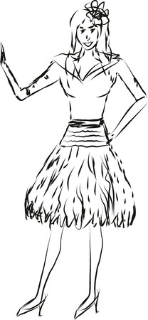 illustration of a lady waving to someone.