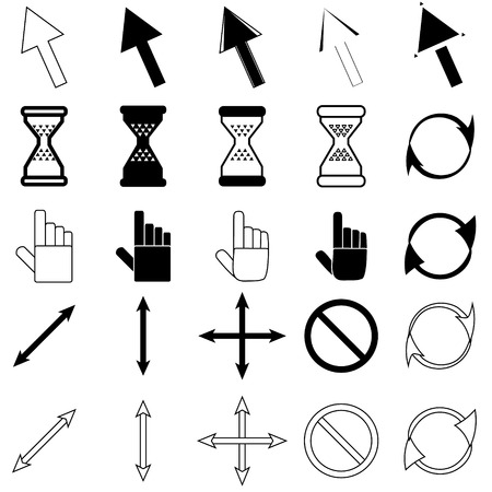 Set of cursors icons: mouse hand arrow hourglass. Vector Illustration Illustration