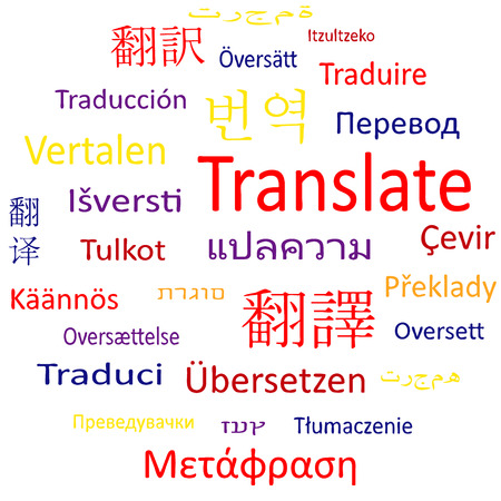 Tag cloud or speech bubble: Translate in different languages
