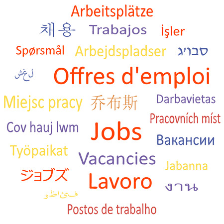 Tag cloud or speech bubble  Vacancies in different languages