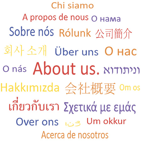 Tag cloud: About us in different languages.  Vector