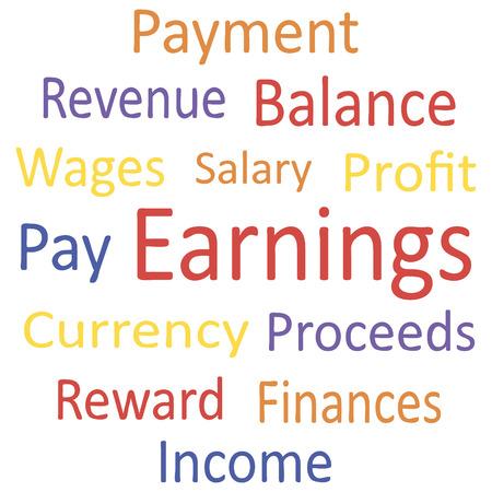 "earnings: Tag Cloud: ""Ergebnis"" mit Synonymen. Vektor-Illustration. Illustration"