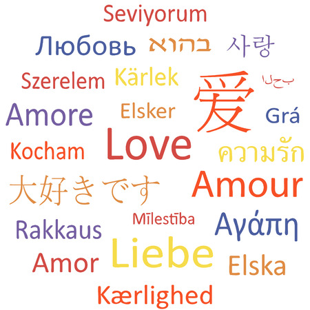 Tag cloud or speech bubble: Love in different languages  Illustration