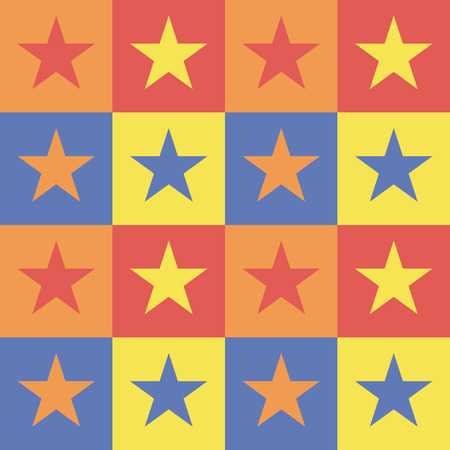 Vector illustration: pattern colorful background with squares stars. Illustration