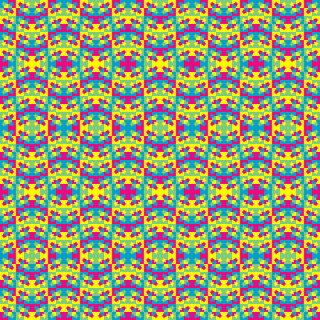 illustration: pattern colorful background with squares stars.