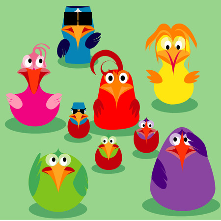 Cute cartoon birds, family issues. Vector illustration. Vector