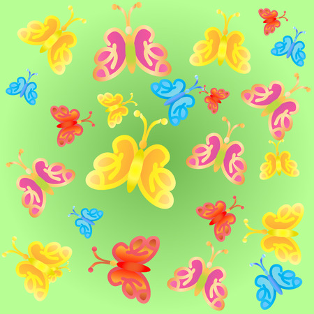 Bright gradient butterflies seamless pattern. Vector illustration.