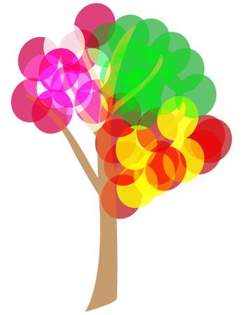 4 seasons tree. Vector illustration contains transparencies Vector