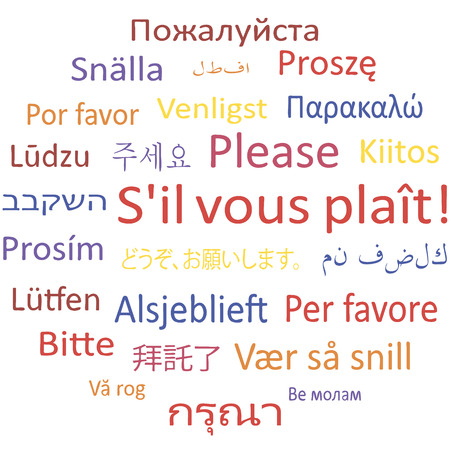 Tag cloud: Please in different languages. Vector illustration.