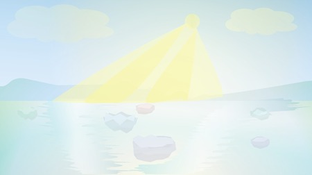 ocean background: Arctic landscape, shiny ocean background. vector illustration with transparency.