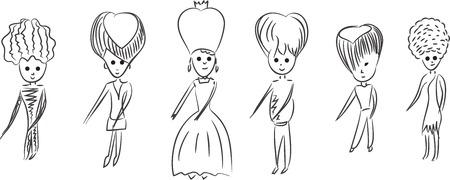 royal family: Vector sketch illustration. Cartoon royal family dancing.