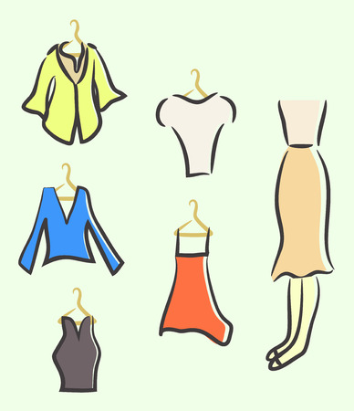 Sketched ladies wardrobe, stylish clothes, vector illustration.