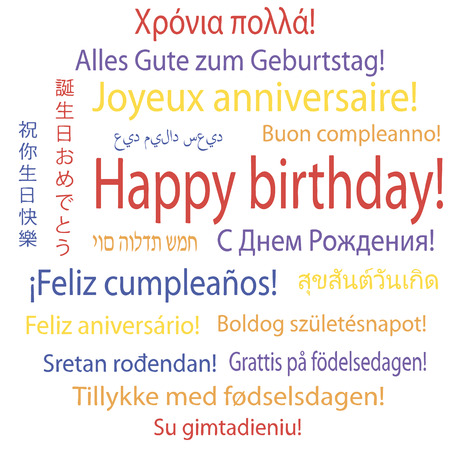 Happy birthday in many languages Illustration