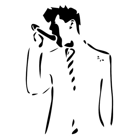 silhouette man in a suit and singing. Vector