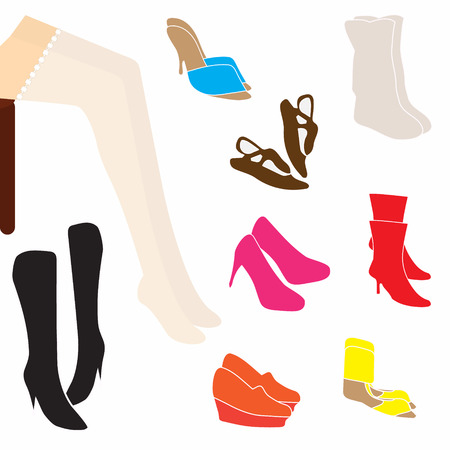 stockings and heels: Female in fishnet stockings choosing shoes  Vector illustration