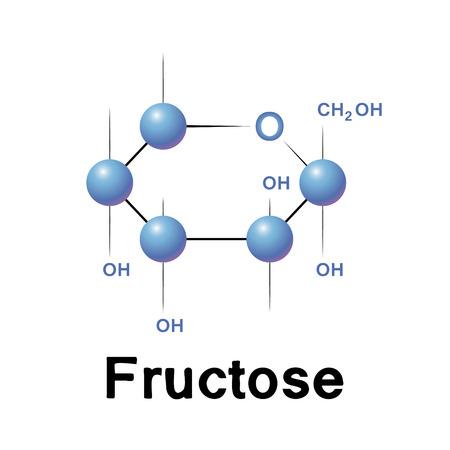 Fructose molecule strucure, biochemistry, chemistry, vector illustration