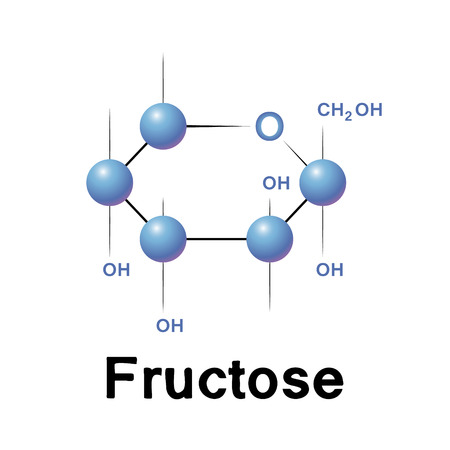 fructose: Fructose molecule strucure, biochemistry, chemistry, vector illustration
