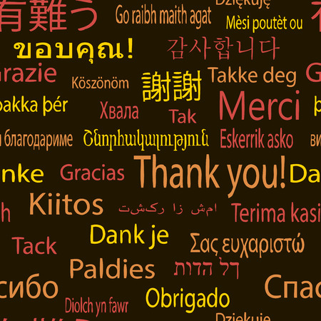 multinational: Thank you, vector pattern in different languages