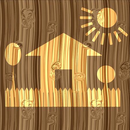 droomhuis: Droomhuis op de houten raad, illustratie Stock Illustratie