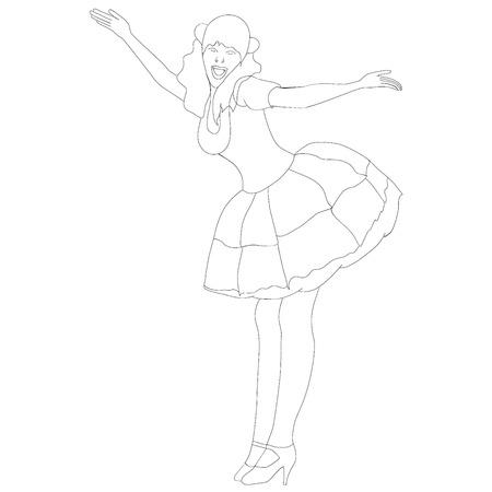 reverence: Happy girl, reverence greeting, a illustration.