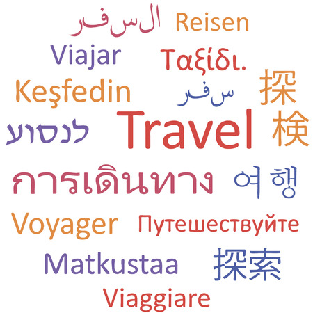 Tag cloud: Travel in different languages. Vector illustration.