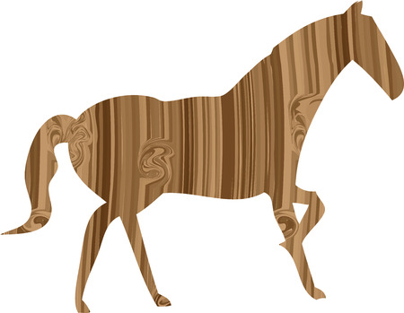Silhouette of a horse in the wooden pattern. Vector illustration Vector