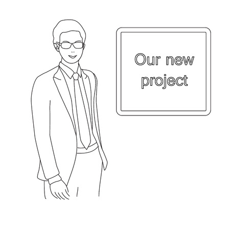 Portrait of an attractive young businessman witn new project. Illustration