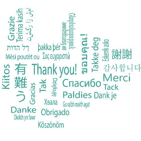 Thank you, different languages. Vector. Illustration