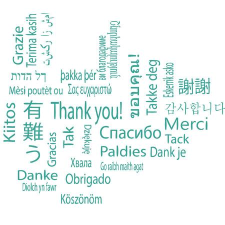 Thank you, different languages. Vector. Ilustração