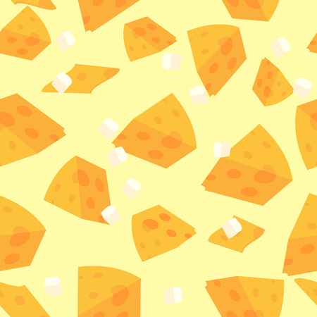 Vector pattern illustration of sliced cheese. Vector