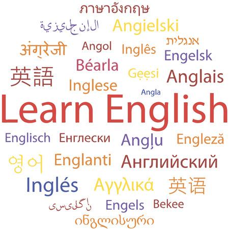 comunicación escrita: Aprender Inglés, idiomas diferentes. Vector.