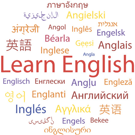 english language: Learning English, different languages. Vector.