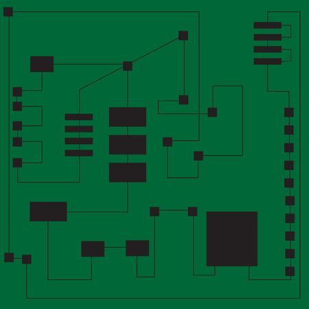 transistor: Phisics and mecanics, engineering a digital board. Vector illustration. Illustration