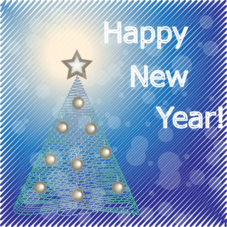 Happy New Year Greeting  Card.  Vector