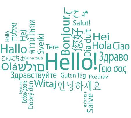 typography signature: Hola, diferentes idiomas. Vectores
