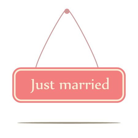 Pink just married signboard Vector