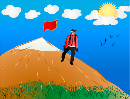 top of the world: A man reached top of the world  Vector illustration  Illustration