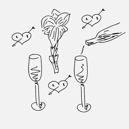 A Doodle vector illustration of pouring champagne. Vector
