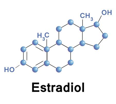 hormone: Estradiol molecule structure, medical illustration.