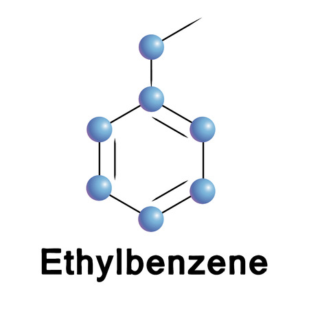 petroleum blue: Ethylbenzene molecule structure Illustration