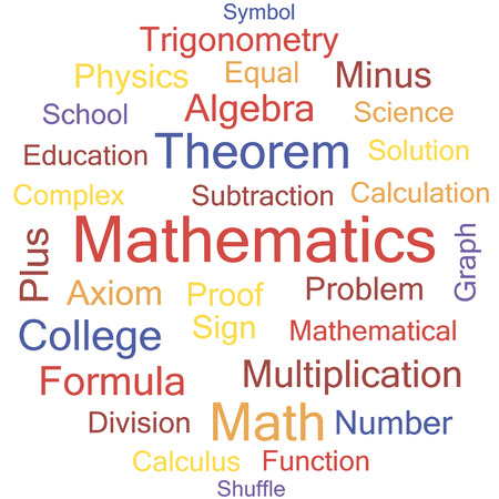 axiom: Mathematics word collage, tag cloud vector illustration. Illustration
