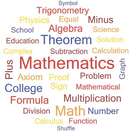 Mathematics word collage, tag cloud vector illustration. Illustration