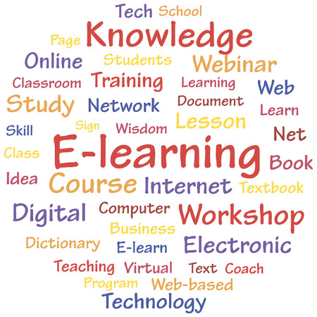 E-learning concept words cloud  A vector illustration