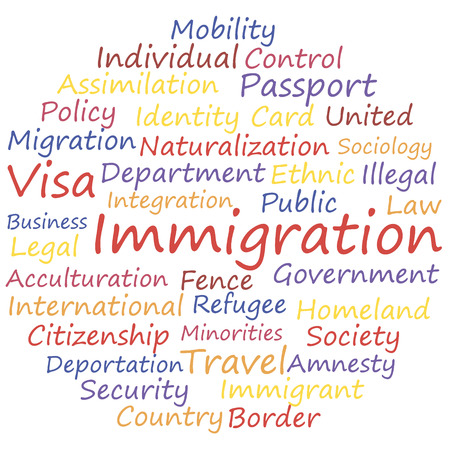 immigration SEO tags. Word cloud concept vector illustration.